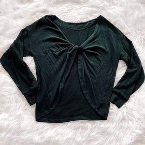 LNA black open back twist sweater